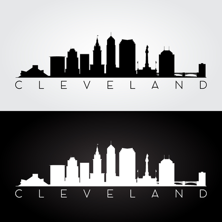 Cleveland USA skyline and landmarks silhouette, black and white design, vector illustration. Ilustrace