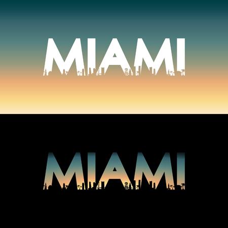 Miami city label. Creative poster design. Vector illustration.