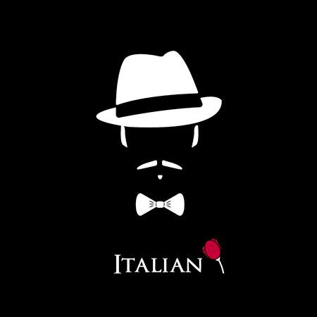 Mafioso italienne. Illustration homme avec une cravate de moustache et arc. Coloré et élégant icône de caractère vectoriel plat.
