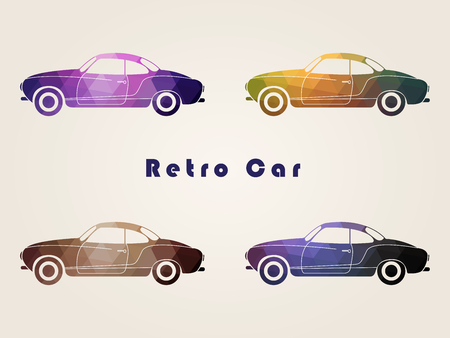 Set of the retro multicolor car icons in vector.