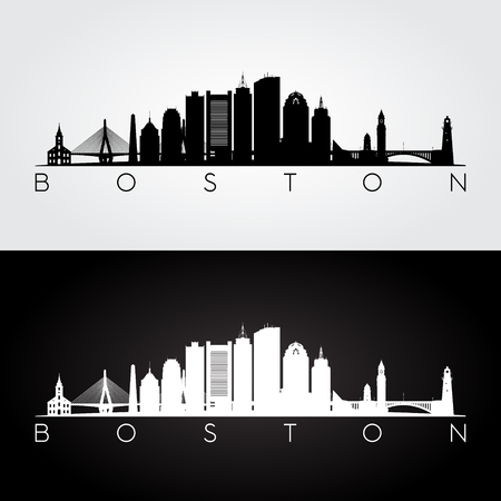 Boston USA skyline and landmarks silhouette, black and white design, vector illustration. Иллюстрация