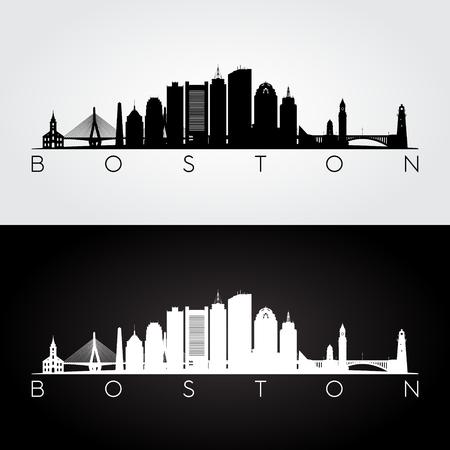 Boston VS skyline en monumenten silhouet, zwart-wit ontwerp, vectorillustratie.