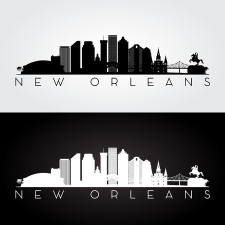 new orleans: New Orleans USA skyline and landmarks silhouette, black and white design, vector illustration.