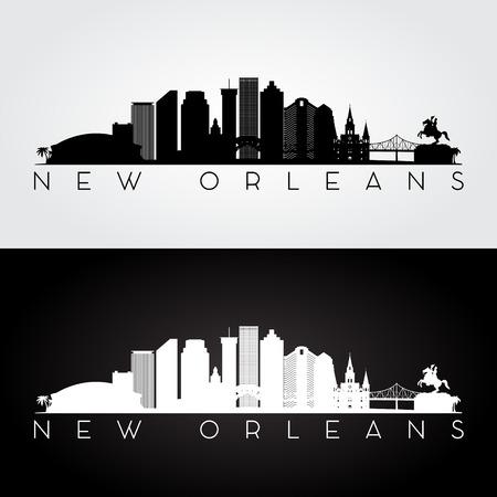 new orleans: New Orleans USA skyline and landmarks silhouette, black and white design, vector illustration.