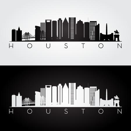 ヒューストン アメリカ スカイラインとランドマーク シルエット、黒と白のデザイン、ベクトル イラストです。