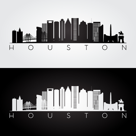 Houston USA skyline and landmarks silhouette, black and white design, vector illustration. Ilustração