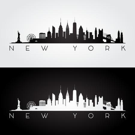 New York USA skyline and landmarks silhouette, black and white design, vector illustration.