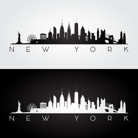 new york skyline: New York USA skyline and landmarks silhouette, black and white design, vector illustration.