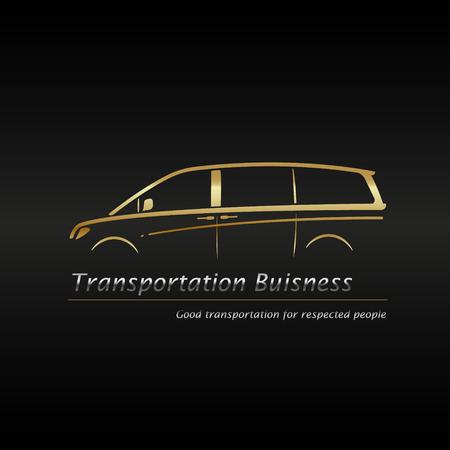 Visitekaartje sjabloon. Moderne gouden minivan in het zwarte logo van het logo van de achtergrond. Vector illustratie.