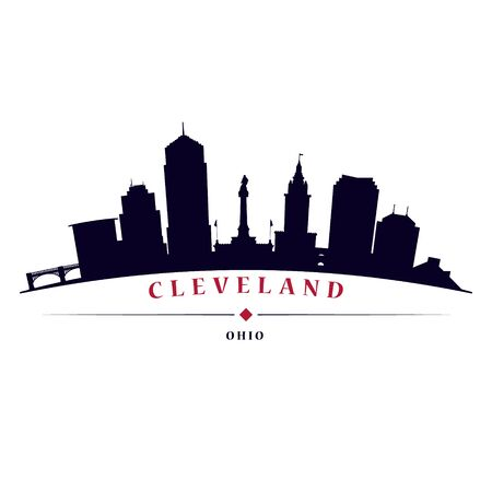 Cleveland skyline black silhouette in white background in editable vector file. Vettoriali