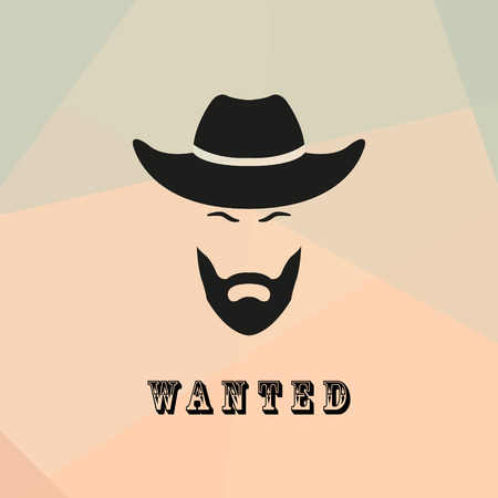 cowboy beard: Wanted cowboy with a beard and mustache. Cowboy bandit Silhouette