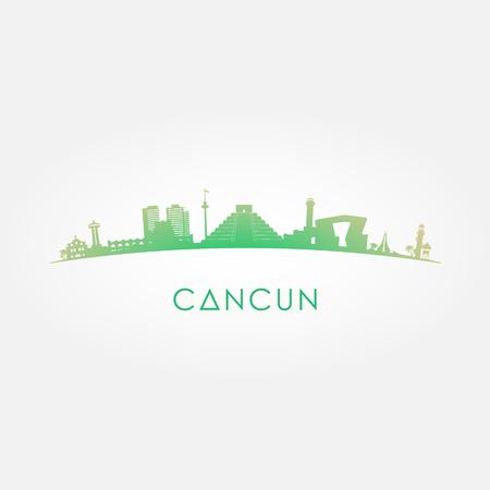 カンクン メキシコ スカイライン シルエット緑ベクトル デザイン白い背景の上。