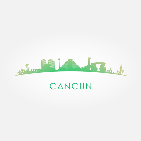 Cancun Mexico skyline silhouette green vector design on white background.