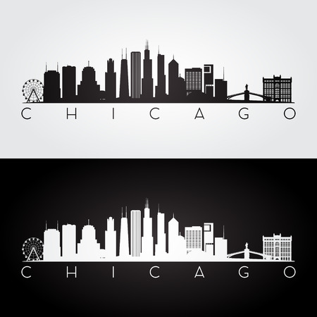 Chicago USA skyline and landmarks silhouette, black and white design, vector illustration.