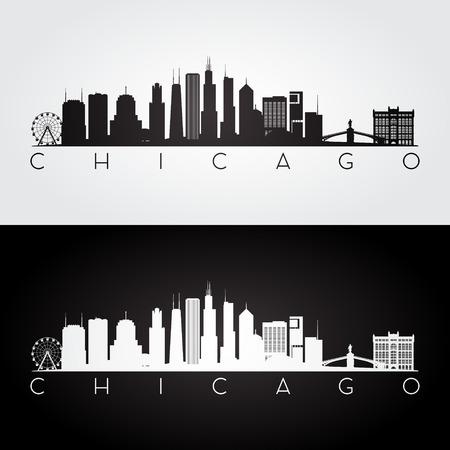 Orizzonte di Chicago USA e siluetta dei punti di riferimento, progettazione in bianco e nero, illustrazione di vettore. Archivio Fotografico - 66695710