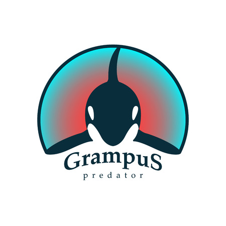 grampus: Vector illustration. Logo grampus whale. Isolated white background. Creative abstract colorful.