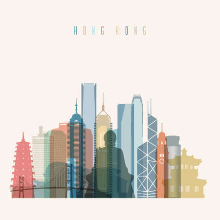 hong kong skyline: Transparent styled Hong Kong skyline detailed silhouette. Trendy vector illustration.