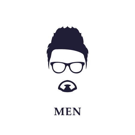 iroquois: Fancy, Young and Fashion Man. Vector emblem on White Background.