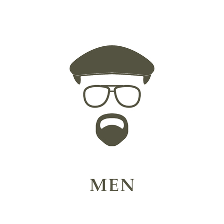 englishman: Avatar head man on ivy cap, glasses and goatee. Vector illustrator.