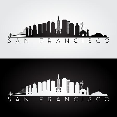San Francisco USA skyline and landmarks silhouette, black and white design, vector illustration.