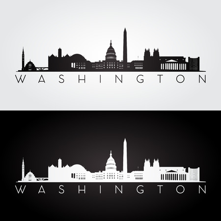 ワシントン アメリカのスカイラインとランドマーク シルエット、黒と白のデザイン、ベクトル イラストです。  イラスト・ベクター素材