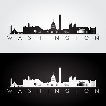 Washington USA Skyline und Wahrzeichen Silhouette, Schwarz-Weiß-Design, Vektor-Illustration.
