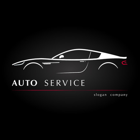 Silhouette car side view in the black background. Vector illustration.