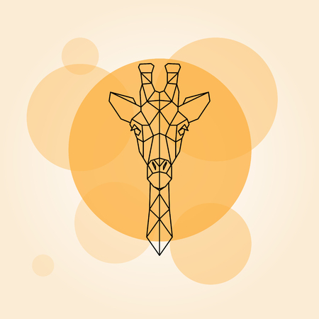 Giraffe head geometric lines silhouette isolated on a orange circle. Vector illustration. Illustration