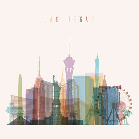 las vegas strip: Transparent styled Las Vegas state Nevada skyline detailed silhouette. Trendy vector illustration.