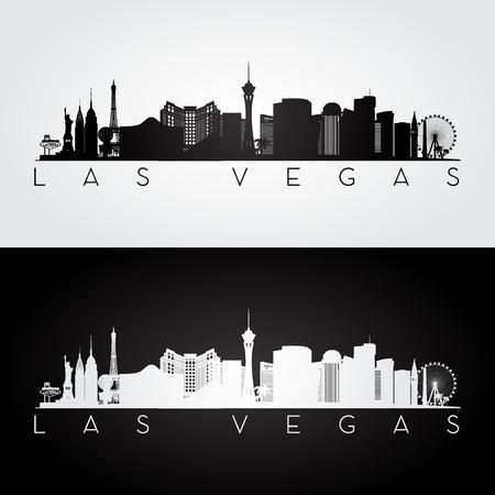 Las Vegas EE.UU. horizonte y puntos de referencia silueta, diseño blanco y negro, ilustración vectorial.