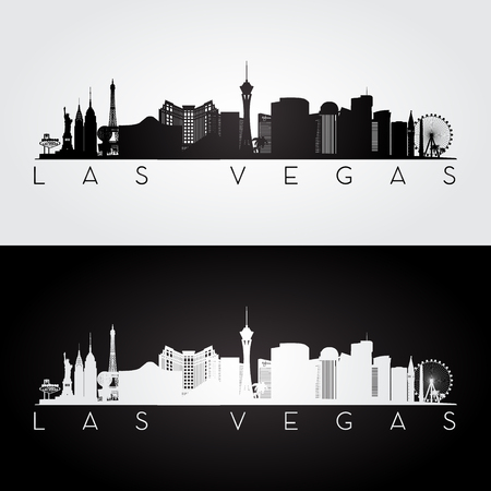Las Vegas USA skyline and landmarks silhouette, black and white design, vector illustration.