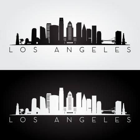 De horizon van Los Angeles de VS en oriëntatiepuntensilhouet, zwart-wit ontwerp, vectorillustratie.