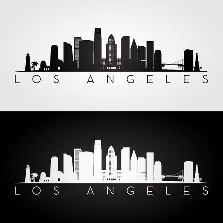 Los Angeles USA skyline and landmarks silhouette, black and white design, vector illustration. Imagens - 66695804