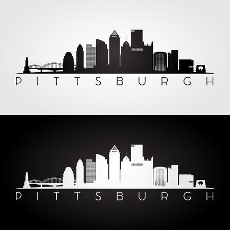 Pittsburgh USA skyline and landmarks silhouette, black and white design, vector illustration.