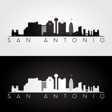 San Antonio USA skyline and landmarks silhouette, black and white design, vector illustration. 일러스트