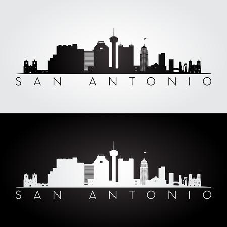 San Antonio USA skyline and landmarks silhouette, black and white design, vector illustration. Vettoriali
