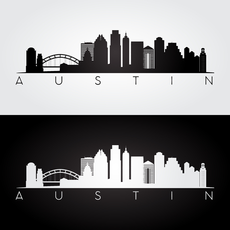 Austin de horizon van de VS en oriëntatiepuntensilhouet, zwart-wit ontwerp, illustratie.