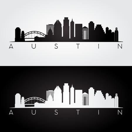Austin USA skyline and landmarks silhouette, black and white design, illustration.
