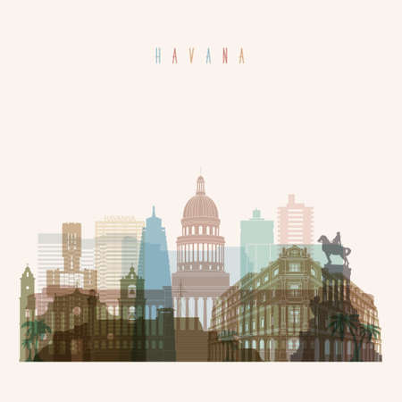 Transparent styled Havana skyline detailed silhouette. Trendy illustration.