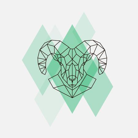 Mountain schapen hoofd geometrische lijnen silhouet geïsoleerd op een groene ruit.