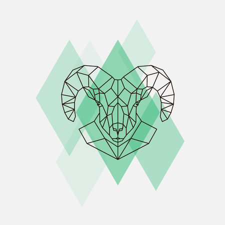Mountain sheep head geometric lines silhouette isolated on a green rhombus.