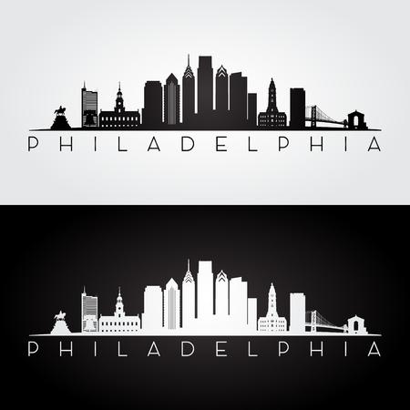 De horizon van Philadelphia de VS en oriëntatiepuntensilhouet, zwart-wit ontwerp Stock Illustratie