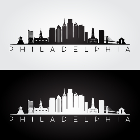 Philadelphia USA skyline and landmarks silhouette, black and white design
