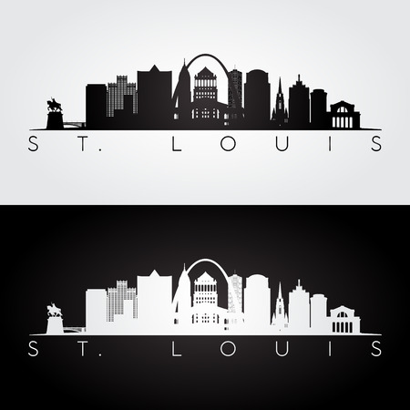 St. louis USA skyline and landmarks silhouette, black and white design