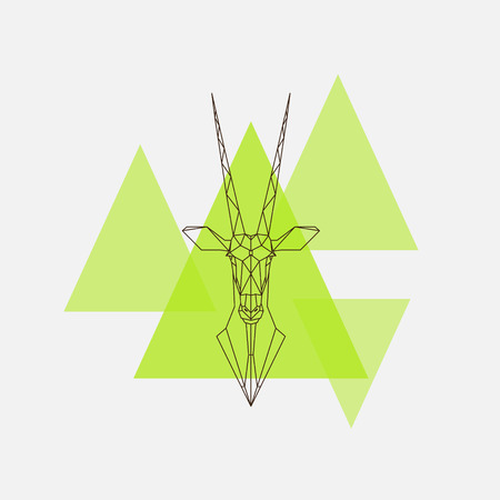 Antelope Oryx head geometric lines silhouette. illustration.