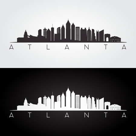 Atlanta USA skyline and landmarks silhouette, black and white design