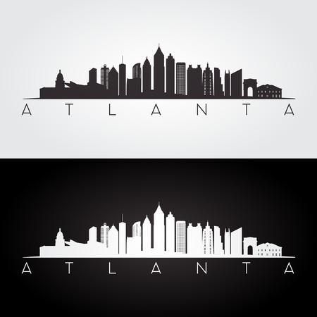 Atlante USA skyline e punti di riferimento silhouette, disegno in bianco e nero Archivio Fotografico - 67699376