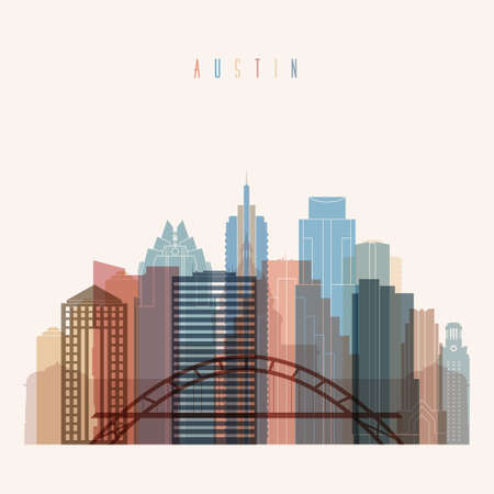 Transparent style Austin state Texas skyline detailed silhouette. Trendy illustration.
