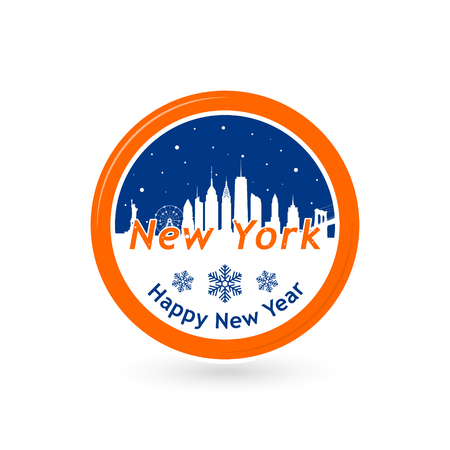 new york skyline: New York, United States of America city skyline silhouette in snow globe. design. Winter skyline.