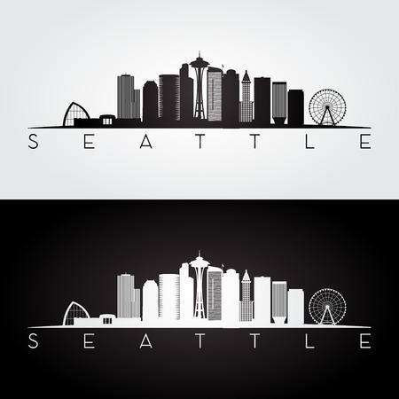 Seattle USA skyline en monumenten silhouet, zwart-wit ontwerp